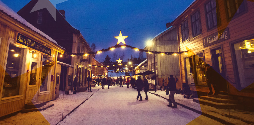 Christmas decorated street in the historical town at Maihaugen.