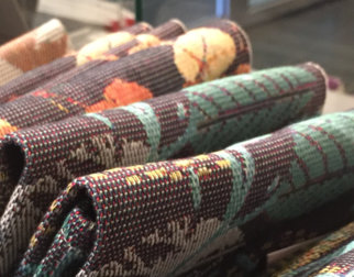 Colorful table runners in linen at the Museum Shop at Maihaugen open-air museum in Lillehammer.